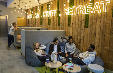 Students relaxing in the LRC