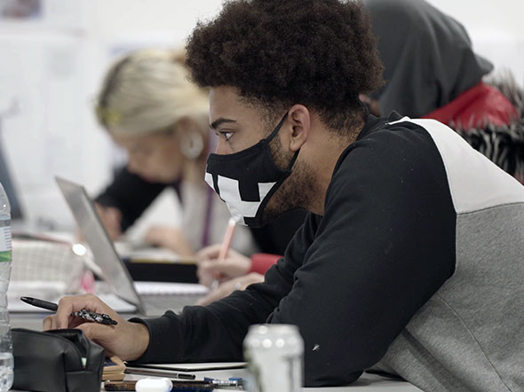 Male student in face mask