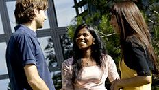 Students talking outside de Havilland