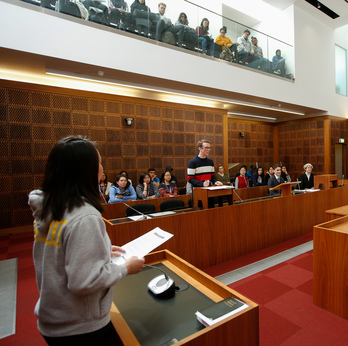 Students in law court