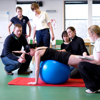 Physiotherapy students in practical workshop