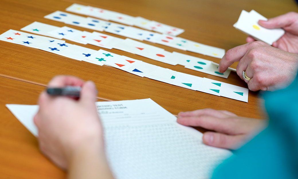 a cognitive research experiment involving playing cards