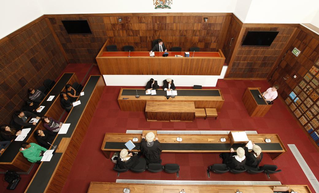birds eye view of mock court room