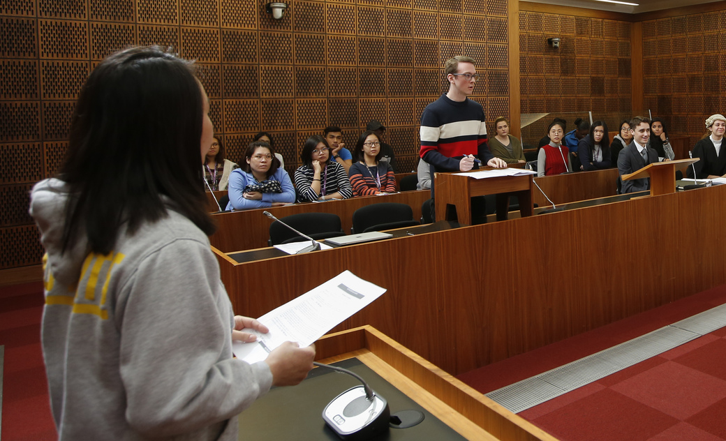 students practising in mock law court