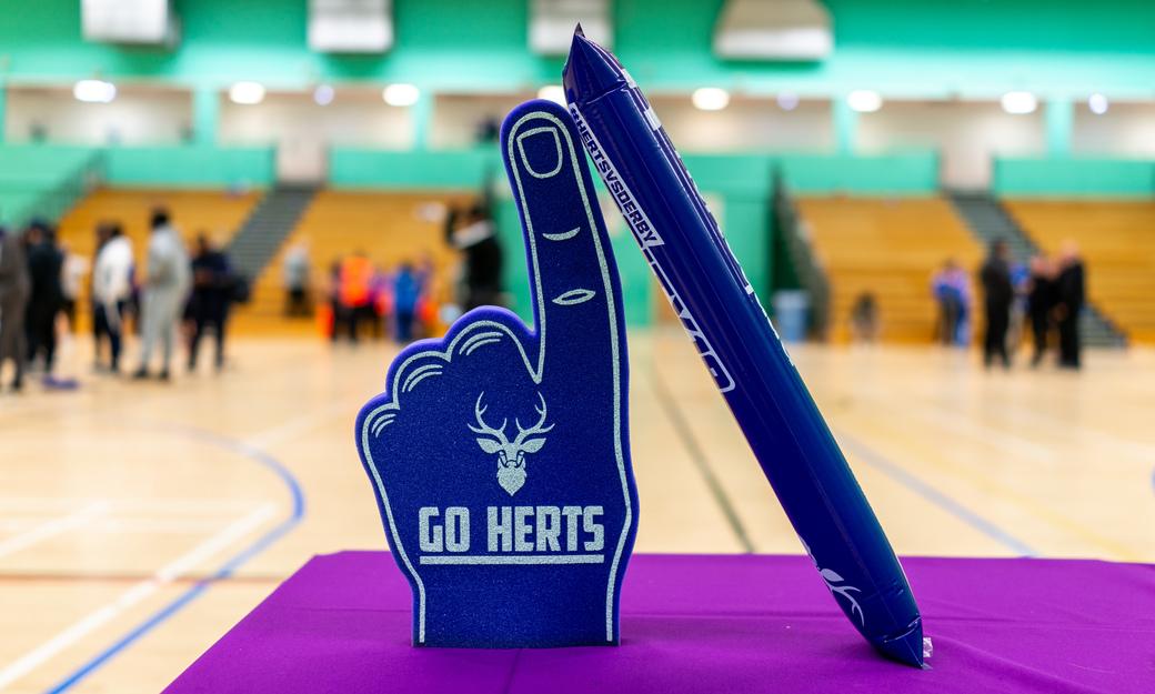 Purple Go Herts foam fingers