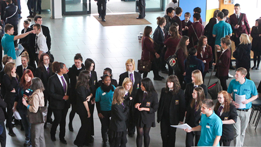 a group of people in the foyer